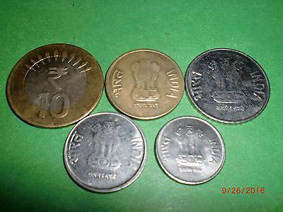 - India - 5  Coins - Rupees  10,5,2,1, & 50 Paise - Year: 2011 -All Different#5C