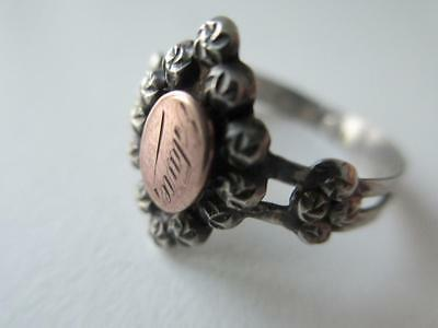 Unusual Vintage French? Silver Gold Ring