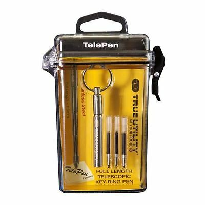 True Utility TelePen Telescopic Keyring Ballpoint Pen with Hard Case and Refills