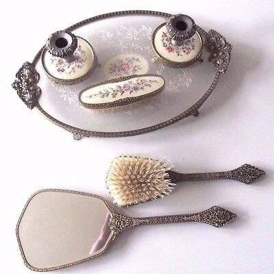Vintage vanity Dressing Table 6pc Set - Mirror/Hairbrush/Clothes Brush/candle`s