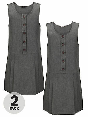 Top Class Girls Woven Pack Of Two Pinafores In Grey Size 3-4 Years
