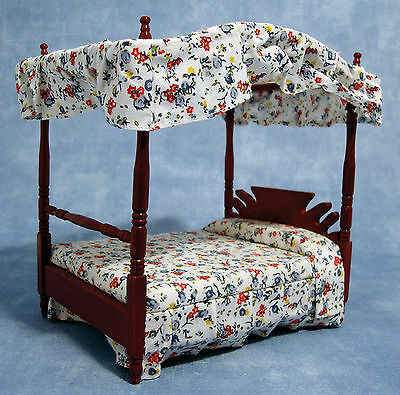 1:12 Scale 4 Poster Canopy Double Bed Dolls House Miniature Bedroom Accessory