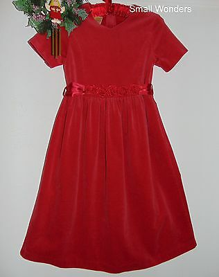 Laura Ashley vintage Christmas 97 cotton velvet party dress with roses, 9 Years