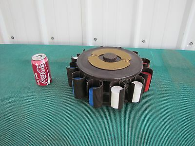 Vintage Turnit Poker Chip Caddy Brown Bakelite with Chips and Cards