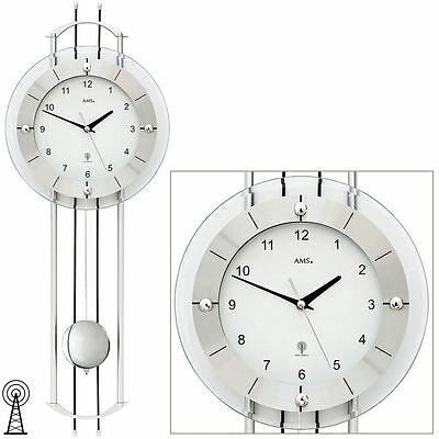 funk uhr wanduhr wohnzimmeruhr mit pendel pendeluhr esszimmeruhr funkuhr 39014t eur 155 00. Black Bedroom Furniture Sets. Home Design Ideas