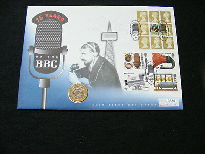 1997 '75 Years of the BBC' £2 coin First Day Cover