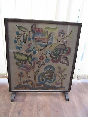 Vintage Oak Firescreen Embroidered Flowers under Glass Victorian Style Furniture