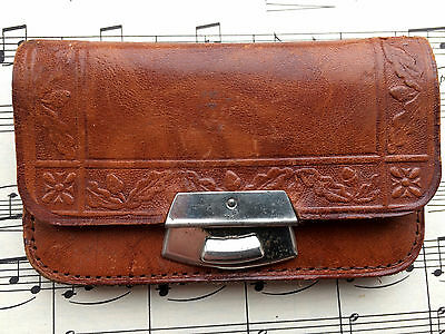 Antique Victorian Edwardian Arts And Crafts Acorn Design Tooled Leather Purse