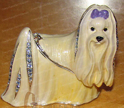 MALTESE Bejeweled Enamel Trinket Box (Pedigree Dog Boxes, 3934)