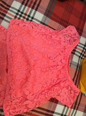 River Island Girls bright orange lace skirt and top age 11-12 years