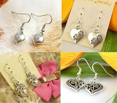 Lady 4 Pair Charm Fashion Jewelry Silver Mixed Heart Stud Earrings Free Shipping