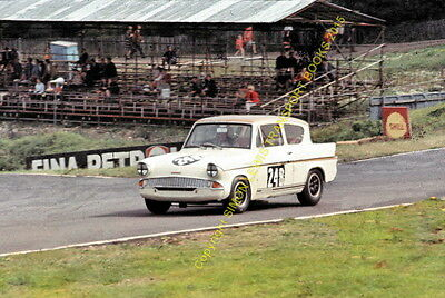 Ford Anglia Broadspeed. Anita Taylor Brands Hatch 1966. colour 10x7 inch photo