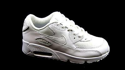 Kids Childrens Girls Nike Air Max 90 White Leather Casual Trainers Shoes Size 13