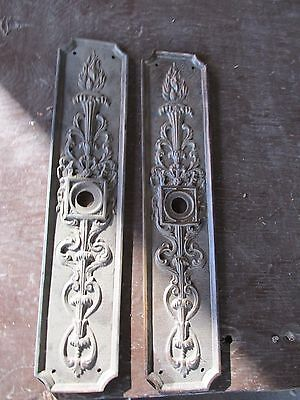 Vintage Pair Of Brass Door Plates