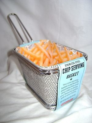 NEW MINI METAL FRIES CHIPS BASKET HOLDER CADDY SERVING COOKING 8 x 12cm APOLLO