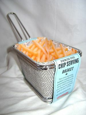NEW MINI METAL FRIES CHIPS TAPAS BASKET HOLDER CADDY SERVE COOK 8 x 12cm APOLLO