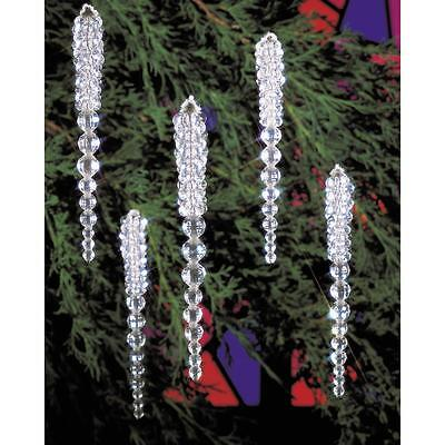 """Holiday Beaded Ornament Kit SPARKLING ICICLES Christmas Ornaments 3.75"""" Makes 30"""