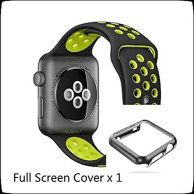 Black Yellow New Sports Silicone Bracelet Strap Band For Apple Watch 42mm / Case