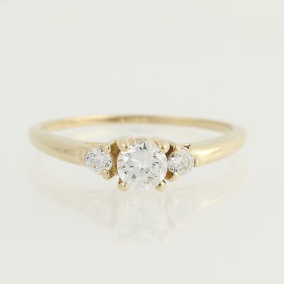 Cubic Zirconia Engagement Ring - 10k Yellow Gold Solitaire with Accents
