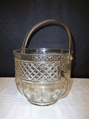 ANCHOR HOCKING DEPRESSION GLASS ICE BUCKET w/HAMMERED HANDLE WAFFLE DESIGN