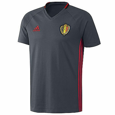 adidas Performance Mens Belgium Football Soccer Training T Shirt Top - Grey