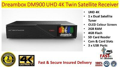 GENUINE DREAMBOX DM 900 Ultra HD 4K Satellite Receiver With Dual DVB-S2  Tuner