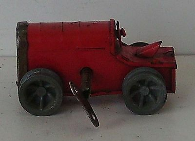 Red Tractor Vintage Clockwork Toy With Key Working Triang Minic
