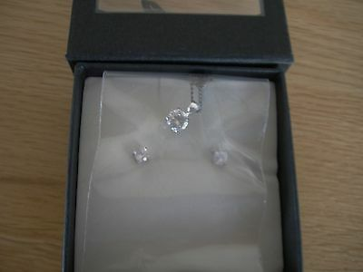 * New * Boxed * Silver Necklace And Earrings Set With Diamante Stones