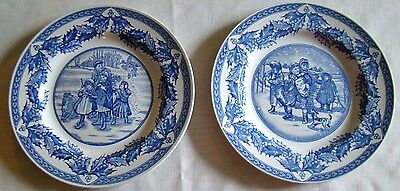 2 Spode Blue and White Plate Gathering Kindling and Mistletoe - 9 inch - New