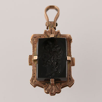 Victorian Carved Onyx Intaglio & Banded Agate Locket - Gold Filled Antique Gift