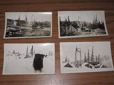 FOUR ORIGINAL EARLY 1900's GOLD MINING PHOTO EASTERN OREGON MINE CAMP BUILDINGS
