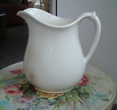 """Antique White Ironstone Pottery Farmhouse Pitcher Rope Handle 8"""" Vintage Homer"""