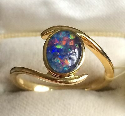14k GOLD ON SILVER BLUE  Boulder Opal RING SIZE L(1.000cts