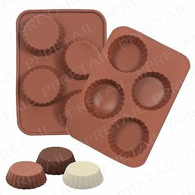 4 Cell Silicone Chocolate Mould +ROUND+ Reeses Cup Shape Cake Decorating/Baking