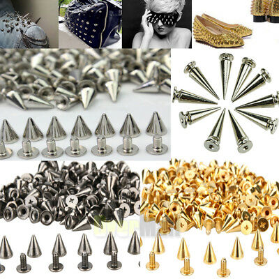 200 PCS Trendy 10MM Silver Spots Cone Screw Metal Studs Rivet Bullet Spikes USA