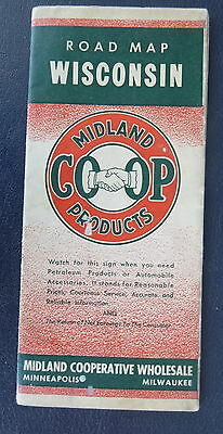 1942 Wisconsin road map Midland Co-Op  Oil Company