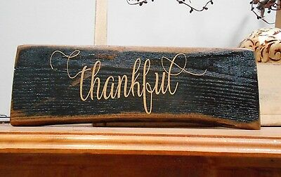 Thankful Reclaimed Pallet Wood Rustic Handmade Shabby Chic Sign Paint & Vinyl