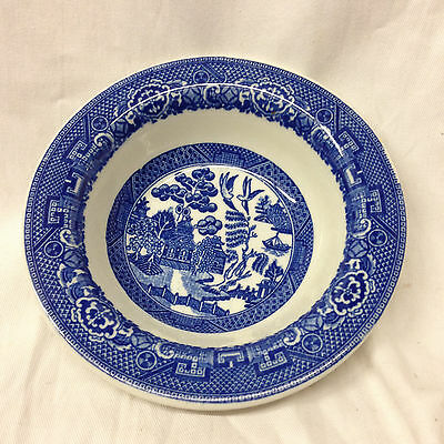 "Caribe China Blue Willow Rim Cereal Bowl 6 1/2"" Landscape Scene Restaurant Style"