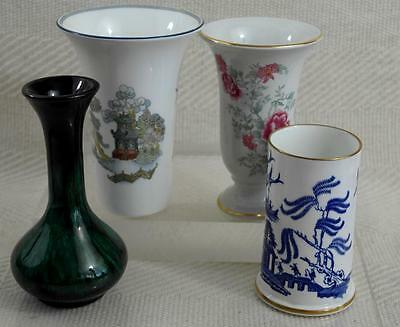 """Mixed Lot of English Bone China Vases + Blue Mountain Vase all approx 5.5"""" #r154"""