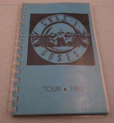Guns & Roses RARE EARLY 1988 Appetite For Destruction Tour Itinerary Book #1