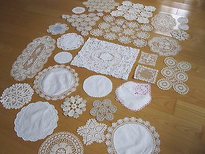 Lot 25 + Antique Vintage Handmade Lace Doilies Mats Runners Ivory White Clean