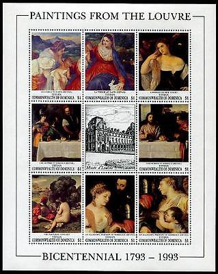 DOMINICA Sc.# 1542 Louvre Museum Paintings Stamp Sheetlet