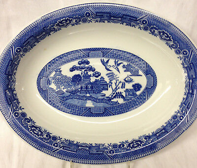 "Caribe China Blue Willow Oval Serving Bowl 12"" Asian Scene Restaurnt Puerto Rico"