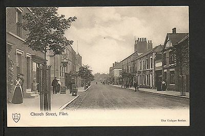 Flint - Church Street -  printed postcard