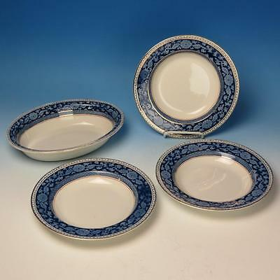 Booths England China - Blue Jacobean - 3 Soup Bowls - 1 Oval Vegetable Bowl