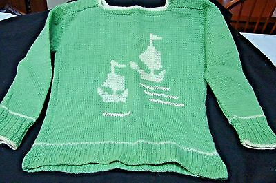 1940s Vintage LITTLE BOYS HAND KNITTED SAIL BOATS 2 TONE SWEATER