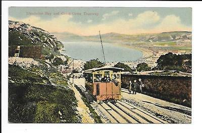 Old postcard, Wales: 'Llandudno Bay and Great Orme Tramway'. Posted 1908.