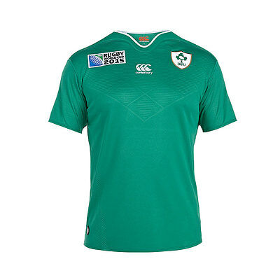 Canterbury Mens Ireland World Cup 2015 Home Rugby Shirt in Green Size XL