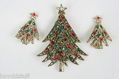 Vintage Signed Hollycraft Christmas Tree Pin & Matching Clip Earrings