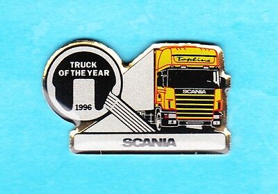 Glassierter SCANIA - Pin TRUCK OF THE YEAR 1996  Rückseite in  Gold